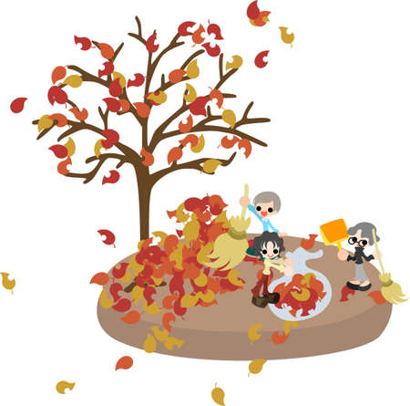 middle age women: Today is New Year s Eve  Let s pick up many fallen leaves and clean the garden
