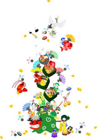 女の子再生時、フルート、ライオン ダンスと鶴と亀、7 幸運の神々 が登場  イラスト・ベクター素材