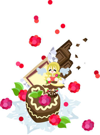whip cream: A sweet, delicious chocolate cake with full of a raspberry and the whip cream  An angel of chocolate appearing to St  Valentine s day sends it