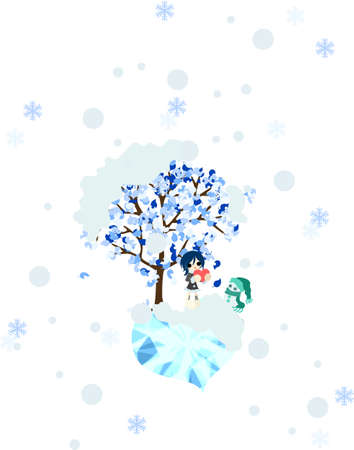 it s a girl: St  Valentine s Day when it snows  A girl to wait impatiently for with a snowman  Illustration