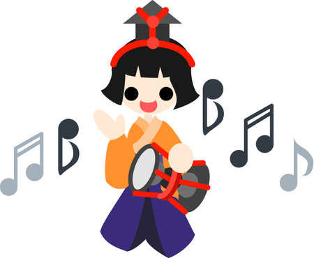 pray for: Japanese celebrate the Girls  Festival on March 3  It s the day to pray for healthy growth and happiness for young girls  This is the doll of musician playing the large drum  Illustration