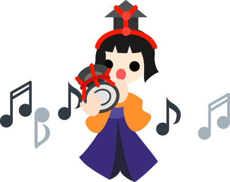 Japanese celebrate the Girls  Festival on March 3  It s the day to pray for healthy growth and happiness for young girls  This is the doll of musician playing the hand drum  Stock Vector - 17984627
