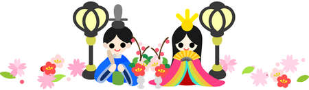 Japanese celebrate the Girls  Festival on March 3  It s the day to pray for healthy growth and happiness for young girls  These are the dolls of the Emperor and the Empress  Vector