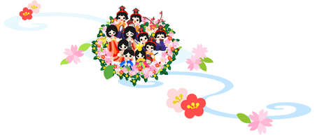 mu�ecas de papel: Japanese Girls celebrar el Festival el 3 de marzo �Es el d�a para orar por el crecimiento y la felicidad de las ni�as La gente tir� las mu�ecas de papel en los r�os y en el mar para ahuyentar a los malos esp�ritus con ellos