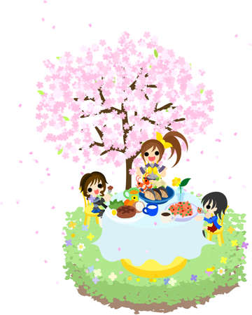 S ハンバーグ ステーキとシーフード、美しい桜の木の下でスパゲティを食べながらお花見を楽しむことができます。