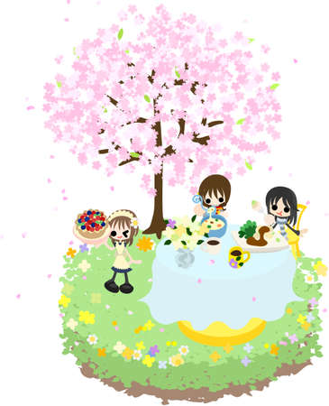 seafoods: Let s enjoy cherry-blossom viewing while eating soup and seafoods, pie of the fruits under the beautiful cherry tree  Illustration