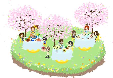 花見の一緒に美しい桜の下で様々 な食品を食べながらお楽しみください s を聞かせてください。  イラスト・ベクター素材