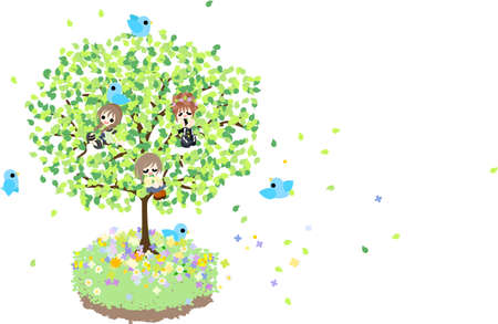 Spring wind blows, and verdures shake Today let s climb the tree, and enjoy gentle wind and sun light with small birds
