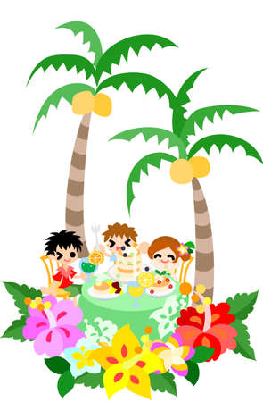 The cafe of the Hawaiian pancake that hibiscuses bloom  Let s spend a happy time with my family  Vector