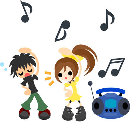 sleepiness: A boy and girl who exercises practiced to commands and music on the radio  Illustration
