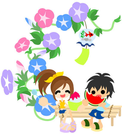 cool off: A boy and girl eating the shaved ice and watermelon  Illustration