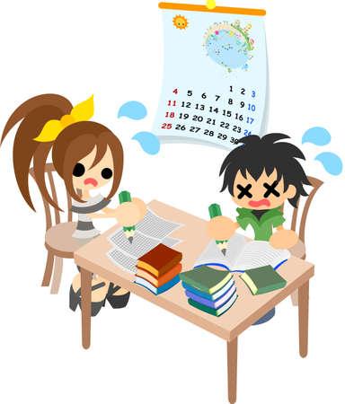 少年と少女は、必死に、夏休みの宿題の作品します。  イラスト・ベクター素材