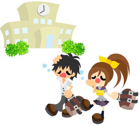 The students who attend school sleepy  Illustration
