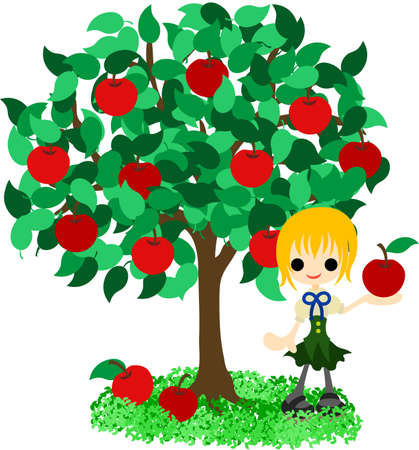 A girl who stands still under the apple tree  Vector