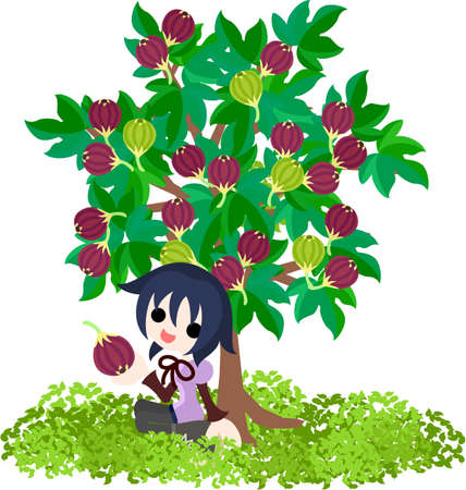 A girl who rests still under the fig tree   イラスト・ベクター素材