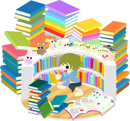 多くの本の間で読書を楽しむ子