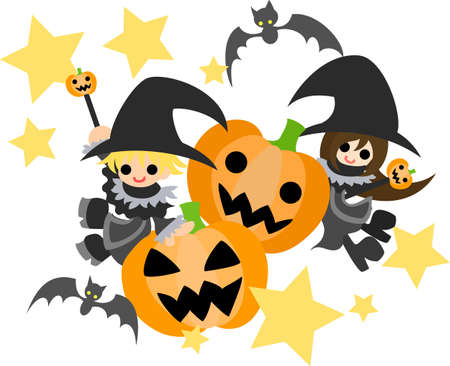 Two jack-o-lanterns, a magician boy and a magician girl  Vector