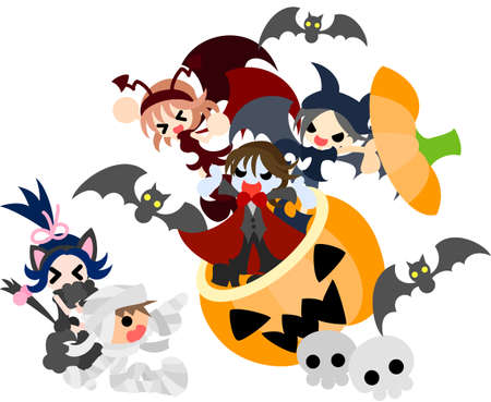 Three devils appear from the jack-o-lantern, and a mummy boy and a black cat girl are surprised  Vector