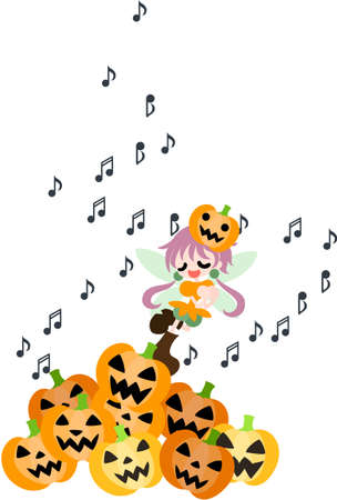 A fairy of the Halloween is singing a song in among many jack-o-lanterns  Vector