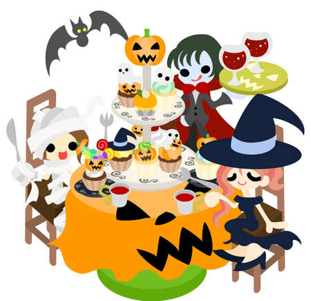 A mummy and a witch and a vampire enjoy a party while eating many cakes of  pumpkin  Vector
