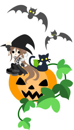 A magician girl and a black cat are sitting on the big jack-o-lantern  Vector