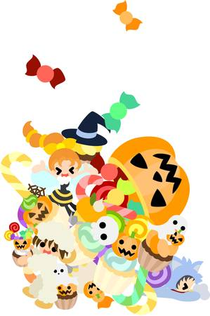 Children are so happy by the mountainous sweet coming out of a big jack-o-lantern  Vector