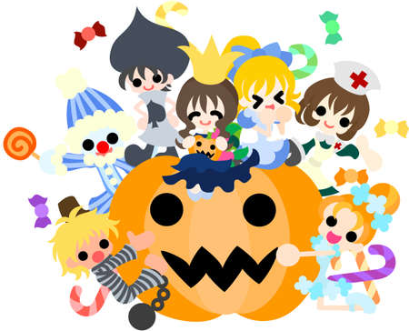 Today is a pleasant Halloween party  A lot of children of fancy-dress processions are coming on  Vector