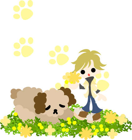 picking up: A sleeping dog and a blond woman picking up a bouquet  Illustration