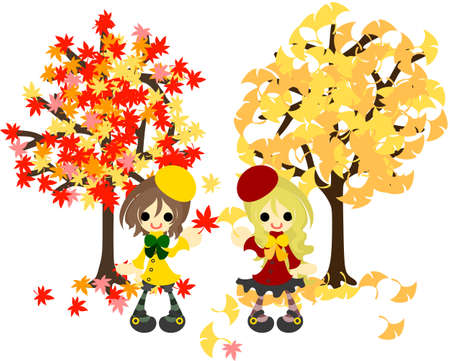 deformation: The tree of maple and the tree of ginkgo, and the girl of two
