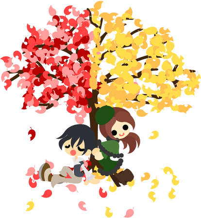 The man and woman who rests under the mysterious tree of red leaf and yellow leaf  Stock Vector - 21969728