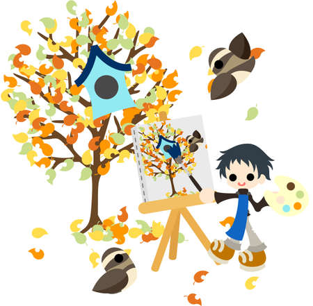 The man who draws the picture of the tree of colorful leaf  Stock Vector - 21969752