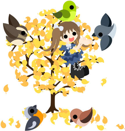 A time to spend with small birds on the tree of yellow leaf Stock Vector - 22019290
