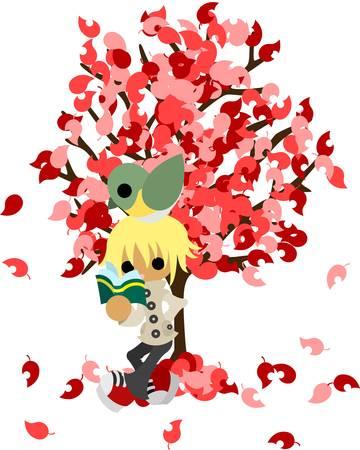 Le jeune homme qui lit un livre sous l'arbre de feuilles de couleur Il est le petit oiseau ensemble, trop Banque d'images - 22019293