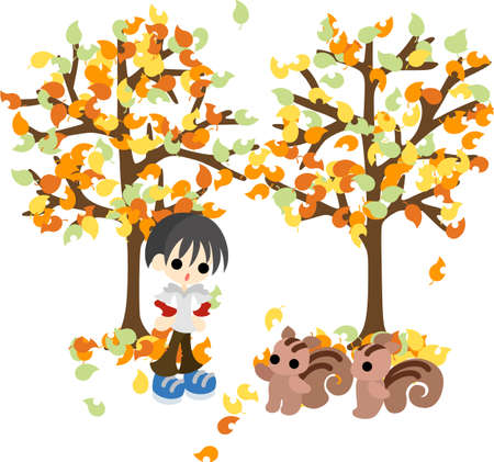 The boy who meets pretty squirrels in a autumn forest  向量圖像