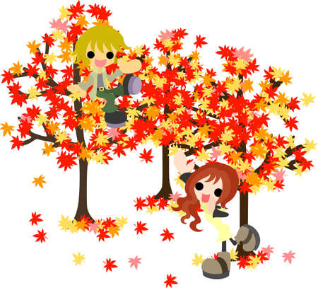 The man and woman who enjoys maple-tree viewing  Vector