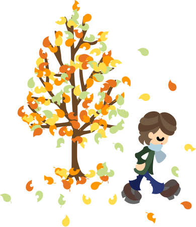 late autumn: A man who walks the way where dead leaves fly  Illustration