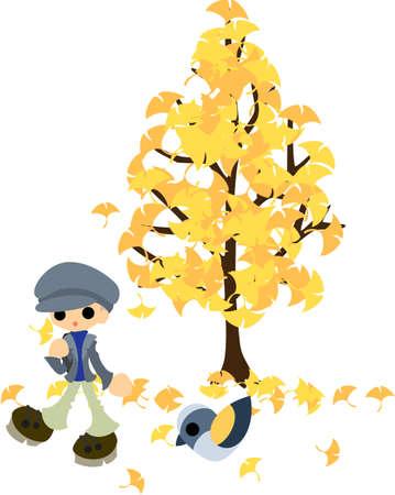 L'homme qui marche sous l'arbre de feuilles de ginkgo qui vole Banque d'images - 22019295