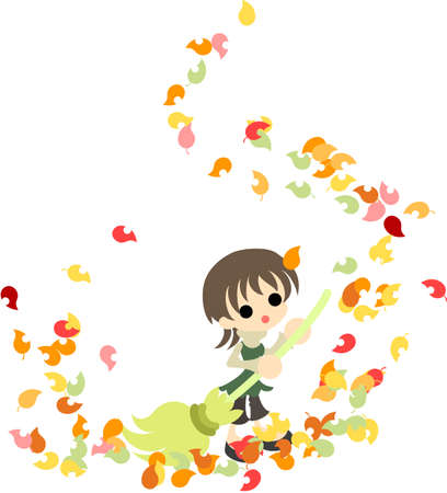 The woman who cleans the colorful fallen leaves with a broom Stock Vector - 22447970