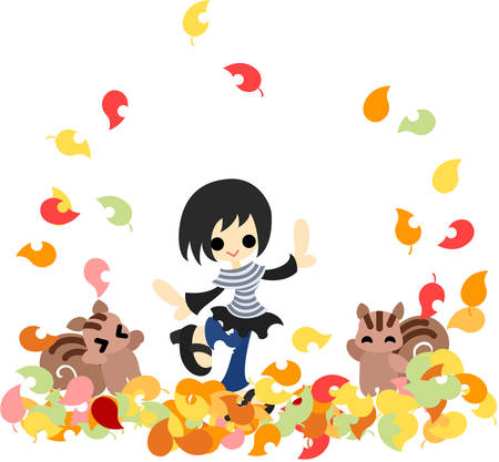 A girl and squirrels are playing on many fallen leaves like a carpet  Stock Vector - 22447971