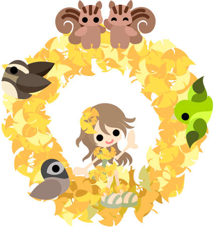 The lease of  small animals and a girl in the dress of the ginkgo  Vector