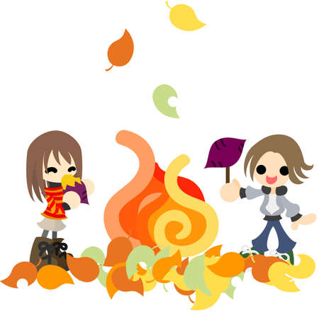 fall images: The man and woman who  roast sweet potatoes by an open-air fire on an autumn day  Illustration