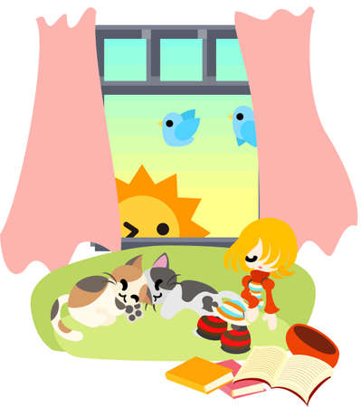 A girl was reading books and fell in a sleep, and daybreak came  There are two cats by her side  Vector