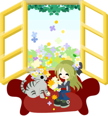 A woman sitting on the red sofa and making a wreath which piled up from the outside of the window and wearing it for a kitten  Vector
