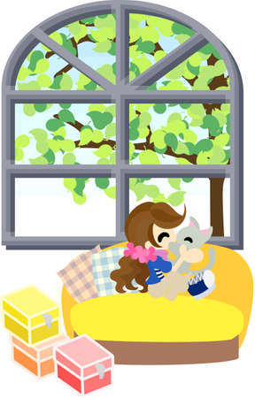 A girl who sits down on the yellow sofa in the room with a wide window, and kissed with a kitten  Stock Vector - 22772821