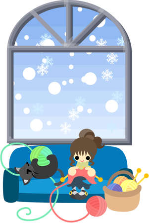 woolen: Winter one day when it snows, a woman is knitting and a black cat is frisking with woolen yarn  Illustration