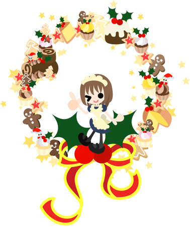 The wreath made with various cakes of Christmas  Vector