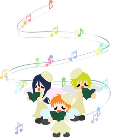 Singing Christmas carol in three people  Vector