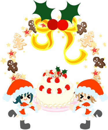 came: The girls who made figures of Santa Claus came over with big Christmas cake  Illustration