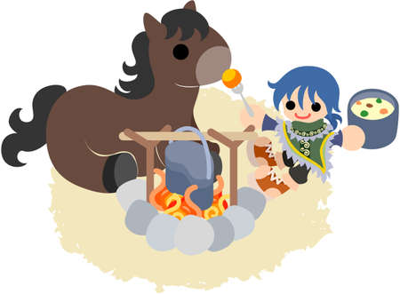 The man who goes on a trip horseback  Eating by camping  Vector