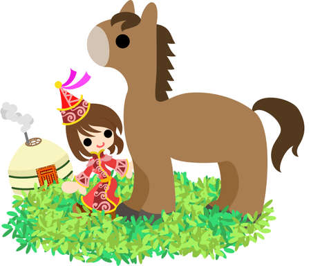 steppe: The Mongolian girl who walks the steppe with a horse